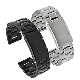 Gear S2 Classic SM-R732 Watch Band, Threeeggs Stainless Steel Watch Strap Bracelet for Samsung Galaxy Gear S2 Classic SM-R732 Smart Watch (Black + Silver)