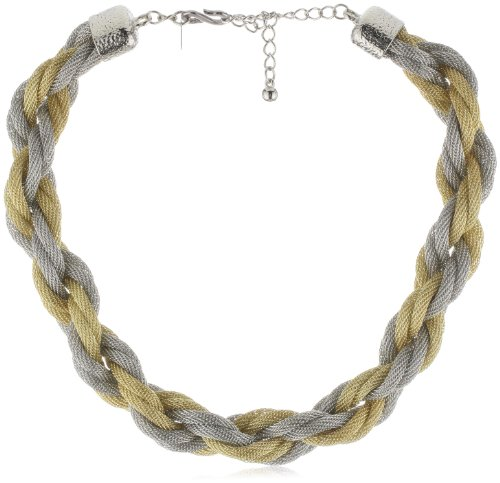 Kenneth Jay Lane Gold and Silver Mesh Twist Necklace
