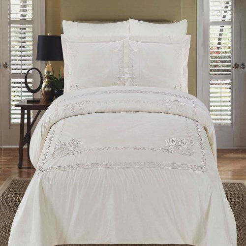Athena White Embroidered 3-Piece King / California King Duvet Cover Set 100 % Egyptian Cotton 300 Thread Count By Royal Hotel Bedding front-342287