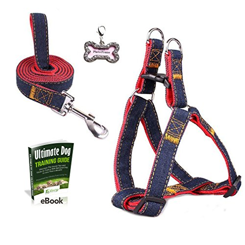 Olivery No-Pull Dog Leash Harness Set with FREE ID Tag, Adjustable Heavy Duty Denim Easy Step in Collar Set for Large/Medium/Small/Extra-Small Pet Training & Everyday Walking, Size X-Small, Red (Pomeranian Harness compare prices)