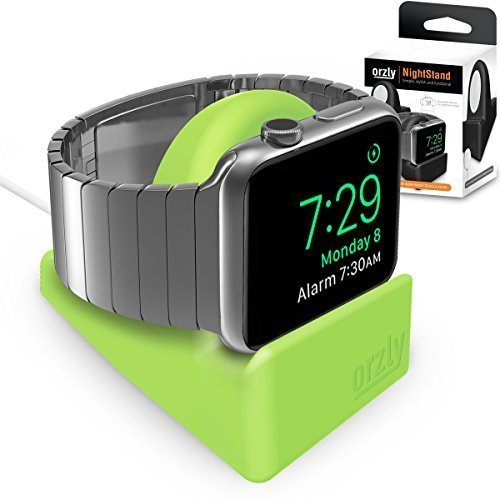 Orzly® Night-Stand for Apple Watch - GREEN Support Stand with Slot for Concealing your Charging Cable (Grommet Charger and Cable not included)