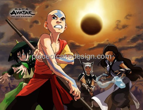 1/4 Sheet ~ Avatar The Last Airbender Group Action Birthday ~ Edible Image Cake/Cupcake Topper!!!