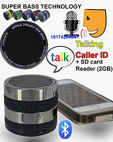 Portable Super Bass Bluetooth Wireless Speaker + Talking Caller Id Handsfree Speakerphone + Sd Card Slot Charzon Mmbox For Iphone / Android Smart Phones / Ipad / Tablets / Macbook / Notebooks . Try It , It Is Better Than Jbl Jambox (Black)