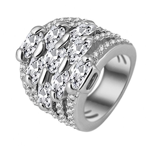 "RI06004C3-10 ""Field Path"" Austrian Crystal 18K Ring"