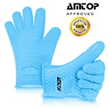 Best Heat Resistant Silicone Oven & Barbecue Gloves, BBQ Grilling Gloves, Kitchen Cooking Gloves, Special for Cooking / Food Prep / House Cleaning / Kitchen / Pot Holding, Dishwasher Safe, Premium Grade FDA Approved - 1 pair (Blue)