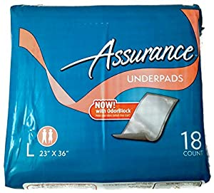 assurance underpads with odorblock tm large 23 x 36 18 count health personal care. Black Bedroom Furniture Sets. Home Design Ideas