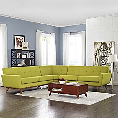 LexMod Engage L-Shaped Sectional Sofa, Wheat