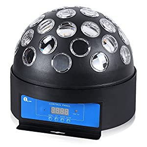 1byone O00QS-0059 8.6-Inch Circular Super LED Stage Light with Sound Activated and DMX512 Control