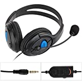 FACILLA® Wired Gaming Chat Headset Headphone Microphone for Song Playstation 4 PS4 Black