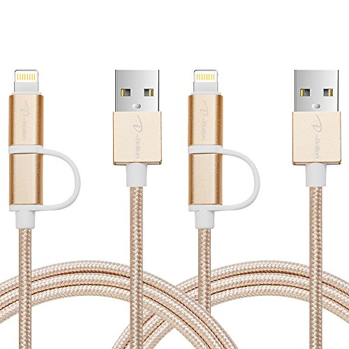 [2 PACK, 2 IN 1] I-Bollon 3ft Lighting and Micro USB Cable Nylon Braid for charging cable cord iPhone7/7 PLUS/6/6 Plus/ 5S/ 5C/5/ 4S, iPad Mini, Samsung Galaxy S5 S4 Note and more (Gold)