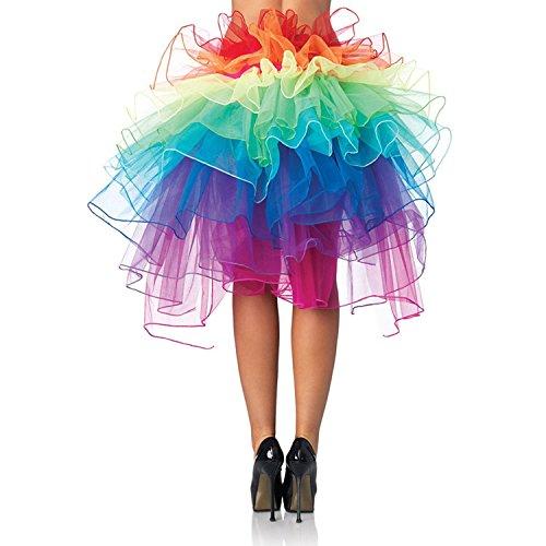Lanzom® Women Layered Organza Rainbow Bustle Dance Party Tutu Skirt Ruffle Tiered Clubwear (Rainbow)