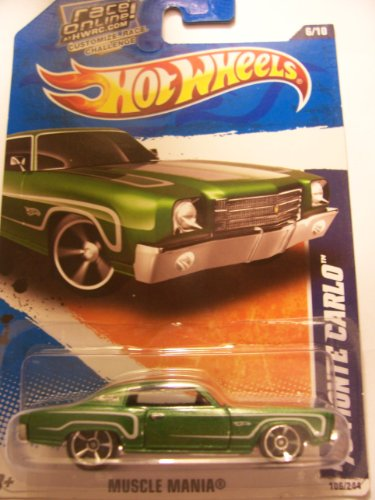 Hot Wheels 2011 Muscle Mania 106/244 Race Online Card '70 Monte Carlo 6/10 (Green)