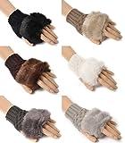 【全6色】 ふわふわ もこもこ ハーフ フィンガー グローブ 手袋 冬 用 レディース 女性 用 フリー サイズ マグネット ピアス 5mm クリア 透明 左右 2個 セット