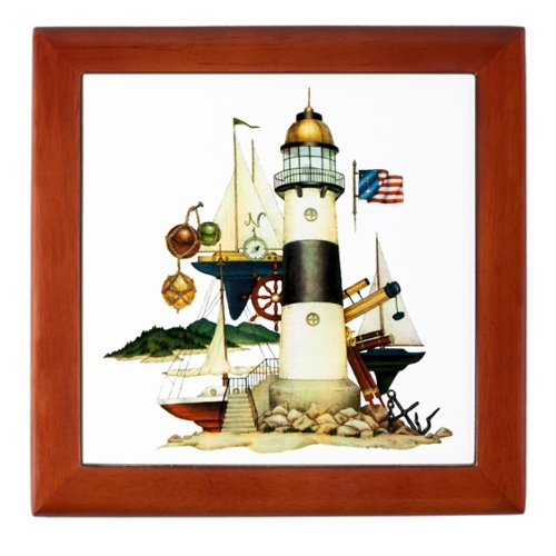 Keepsake Box Mahogany Nautical Vintage Lighthouse Telescope Steering Wheel Anchor And Ships