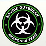 "3 - Zombie Outbreak Response Team Green Hard Hat / Helmet Stickers 1 1/2"" H125"