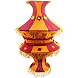 Rose Applique Cotton Kalasa Lantern (25 Cm X 11 Cm X 50 Cm, Orange & Red)