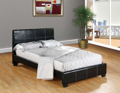 Black Home Life Leather Platform Bed with Slats Full - Complete Bed 5 Year Warranty Included