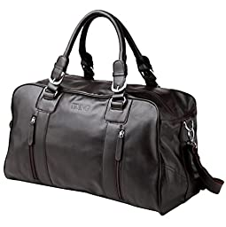 Tiding Men's Black Nappa Leather Travel Tote Bag Sport Duffle Gym Bag 1024-2