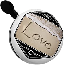 Bicycle Bell Love in English language written on beach by NEONBLOND