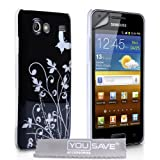 Samsung Galaxy S Advance i9070 Black / Silver Butterfly Floral Pattern IMD Hard Case Cover With Screen Protector Film And Grey Micro-Fibre Polishing Clothby Yousave Accessories