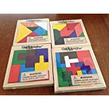 Westminster Set Of 4 Puzzangles - Wooden Tangram Puzzles - Brain Teaser Motor Skills - Toys Party Favors - Educational...