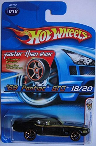 HOT WHEELS 2005 #18 FASTER THAN EVER WHEELS BLACK '69 PONTIAC GTO JUDGE DIE-CAST - 1