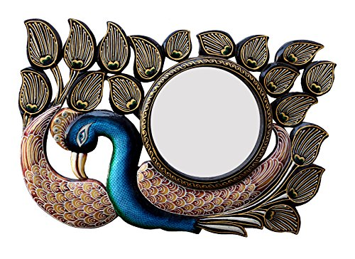 Divraya Wood Peacock Wall Mirror (45.72 Cm X 4 Cm X 30.48 Cm)