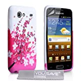 Samsung Galaxy S Advance i9070 Pink / White Floral Bee Pattern Silicone Gel Case With Screen Protector Film And Grey Micro-Fibre Polishing Clothby Yousave Accessories