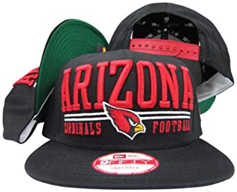 Arizona Cardinals Solid Black Two Bar Block Plastic Snapback Adjustable Plastic Snap... by New Era