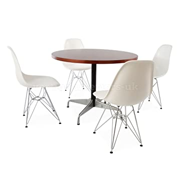 Beech Circular Eames Style Table & 4 DSR Chairs - Orange