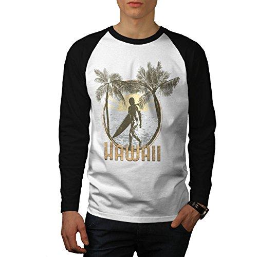 Hawaii USA Surfer Palm Beach Men NEW White (Black Sleeves) M Baseball LS T-shirt | Wellcoda (Bbq Island Umbrella Sleeve compare prices)