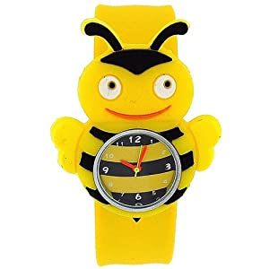 TOC Kids Yellow Bumble Bee Slap Watch With Yellow & Black Stripe Dial BBS001
