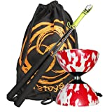 Babache Medium Harlequin Diablo (R/Wht), JD Carbon Fibre Diabolo Sticks & Bag