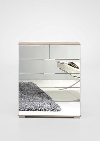 Wimex German Mirror Oak Chest 4+2 Large Drawer Wide Mirrored