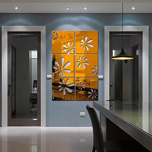 Cristal acrylique 3D stéréo stickers cerise miroir cuisine salle à manger salle de bains balcon chinois romantique,peinture décorative effet miroir,or