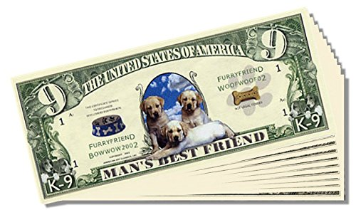 Man's Best Friend Novelty (K)9 Dollar Bill - 25 Count with Bonus Clear Protector & Christopher Columbus Bill