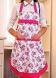 かわいい 花柄 エプロン ポケット 付き 撥水 家事 キッチン 水仕事 ガーデニング 作業 に (レッド)