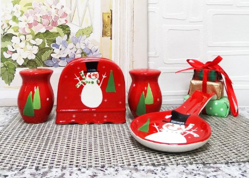 Holiday Christmas Snowman, Hand Painted Ceramic, 4Pc Stove Top Set, 87225/28 By Ack back-158599