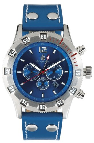 Burgmeister San Marino Bm138-133 Gents Automatic Analogue Wristwatch Blue Leather Strap Blue Dial Date Day Month 24H