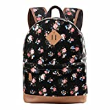 Douguyan Casual Lightweight Print Backpack for Girls and Women School Rucksack Black 133B