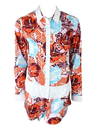 Click Here For nice Size Amazon.com: Thakoon Addition Womens Long Sleeve Hawaiian Shorts Romper: Clothing