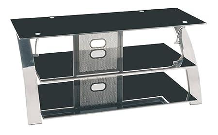 Étagère TV noir-nickelé, L111 x H50 x P57 cm -PEGANE-