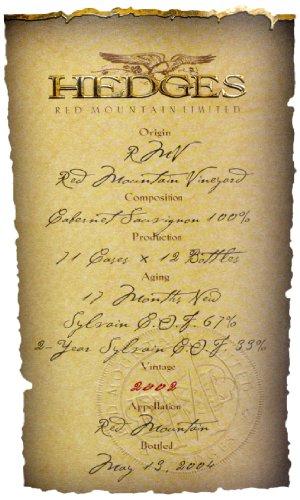 2002 Hedges Family Estate Single Vineyard Limited Cabernet Sauvignon 750 Ml