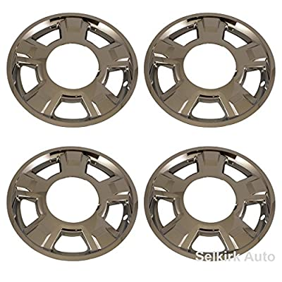 "4 New Chrome 17"" Wheel Skin Hub Caps for 2010 - 2012 Ford F150 w/ 5 spoke and center Cap cutout"