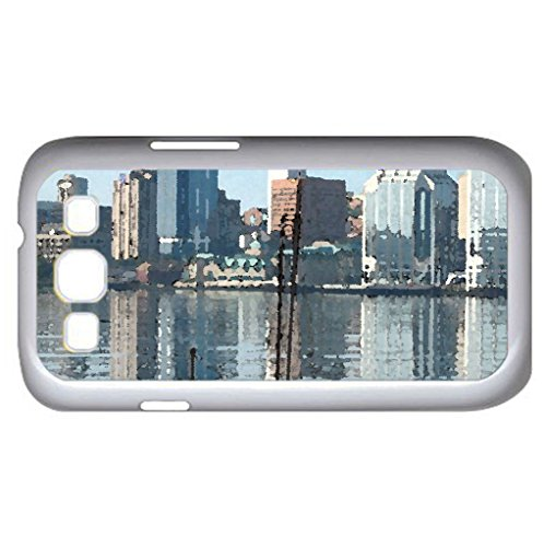 Halifax Harbour, Nova Scotia (Skyscrapers Series) Watercolor Style - Case Cover For Samsung Galaxy S3 I9300 (White)
