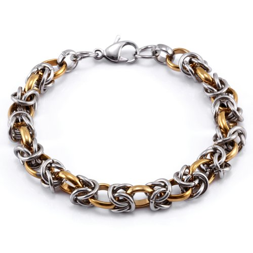 JewelryWe New Titanium Stainless Steel Choker Chunky Twisted Link Chain Curb Bracelet 8.3