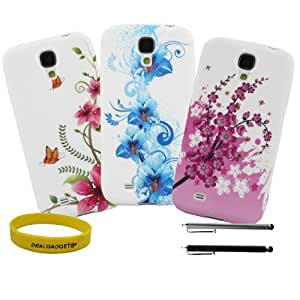 Dealgadgets Galaxy S4 Case Bundle/ Pack Slim-fit TPU Flower Case for Samsung Galaxy s4 + Free wristband and stylus (TPU white)
