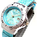 Kahuna Girls / Women's Aqua Blue Metallic Dial Flower Pattern Velcro Strap Sports Watch with 50 Meters Water Resistant & Date Function