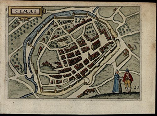 chimay-hainault-cimai-belgium-1612-blaeu-map-walled-town-fine-antique-city-plan