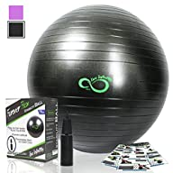 Exercise Ball -Professional Grade Anti Burst Tested with Hand Pump- Supports 2200lbs- Includes…